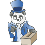 Election panda with a ballot box vector illustration