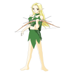 Vector graphics of archer girl in green outfit