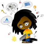Vector image of Afro man with broken computer keyboard