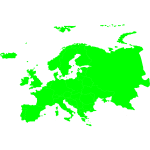 Green silhouette of map of Europe