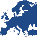 Map of Europe in dark blue color