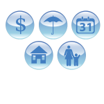 Clip art of event planning icons in blue shades