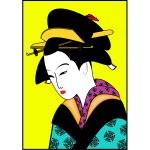 Japanese woman in color kimono vector image