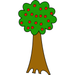 Vector drawing of cartoon tree of apples