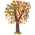Autumn tree branch vector clip art