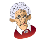 Vector illustration of grumpy old woman