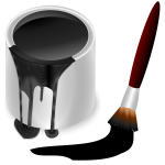 Black bucket and brush vector graphics