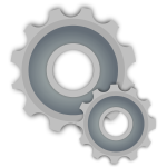 Grayscale vector illustration of gear mechanics