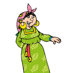 Vector drawing of old Gipsy lady in green dress