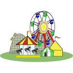 Vector graphics of circus with facilities for children