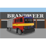 Fire truck in front of fire house vector image