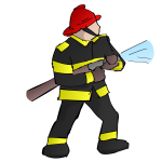 Firefighter vector drawing