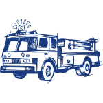 Fire brigade vehicle drawing in blue