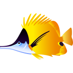 Black and yellow fish vector illustration