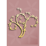 Vector image of decoration element with tree branch in color