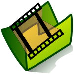 Vector graphics of video green folder icon