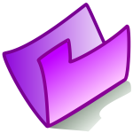 Vector drawing of purple bent folder icon