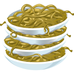 Noodles on plates