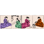 Four geishas in different poses