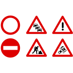 Traffic signs icons vector graphics