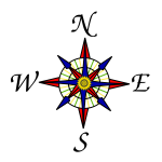 Colorful compass rose
