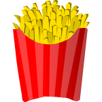 French fries in box vector clip art