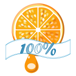 100% orange vector label