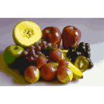 Vector graphics of stylized fruit selection on a table