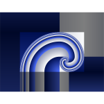 Vector illustration of grey and blue spiral design tile