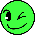Green smiling face vector drawing