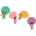 Children with umbrellas image
