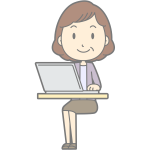 Female computer user vector drawing