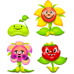 Vector clip art of set of happy flowers