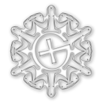 Shaded geocaching snowflake motif vector image