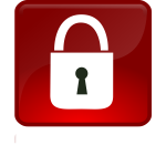 Closed lock in red button vector drawing