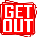 Get out red stamp vector drawing