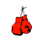Vector drawing of fiery red boxing gloves
