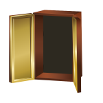 Vector image of brown colored cupboard open