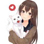 Anime girl with kitten