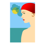 Vector image of young girl with red cap