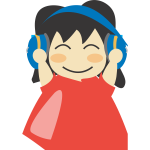 Girl with headphones vector drawing