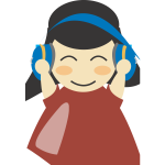 Girl with headphones vector image
