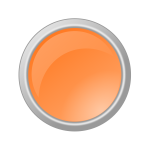 Orange button in gray frame vector image