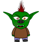 Green cartoon goblin