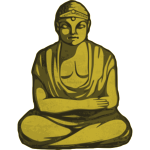 Vector graphics of statue of golden Buddha