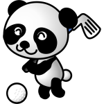 Panda playing glof