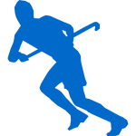 Silhouette vector image of grass hockey team member
