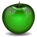 Vector illustration of photorealistic green wet apple