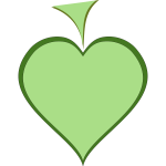 Green heart with dark green thick line border vector illustration