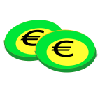 Illustration of green euro coins